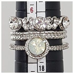 Jewelry - 🔴Multi Stone Silver Opal Triple Layer 3 Ring Set